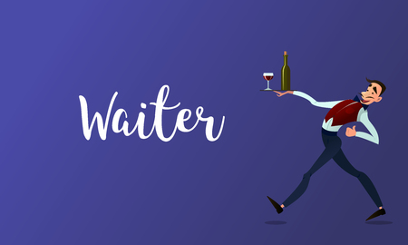 spacing: Waiter spacing .Menyu restaurant. Fast service. Design in flat style.Vector detailed characters Illustration