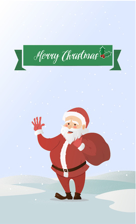 Santa Claus waving. Has brought the bag with gifts. Vector illustration of a flat style. Bright New Year and Christmas characters Illustration