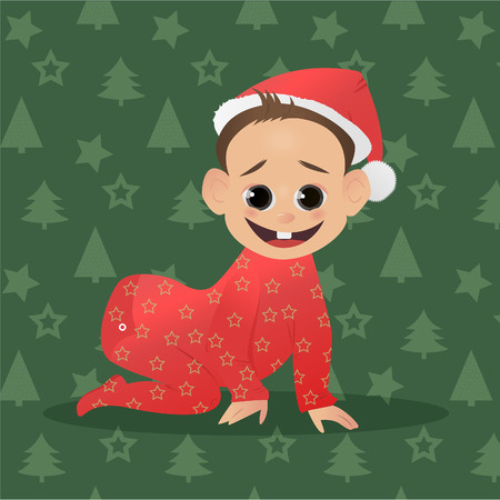 funy: Little funy Santa. Baby Santa Claus. The first Christmas and New Year for baby. Vector illustration. Christmas characters Illustration