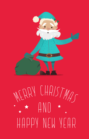 Santa Claus with a bag of gifts waving.New Year illustration. New Year character. Vector illustrations Stock Illustratie