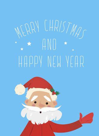 Kerstman met een zak met geschenken zwaaien. Nieuwjaar illustratie. Nieuwjaar karakter. Vector illustraties