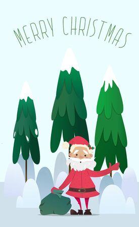 Kerstman met een zak van giften waving.Santa Claus in een dennenbos .New Jaar illustratie. Nieuwjaar karakter. vector illustraties