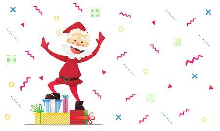 Vrolijke kerstman met presenteert. Uitnodiging voor een feestje. Kleurrijke geometrische abstracte achtergrond. Leuk feestje. Vectorkerstmisillustratie voor uitnodiging of achtergrond