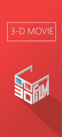 three d: three d movie. cinema. Poster for the movie theater. Logo isometric. Illustration