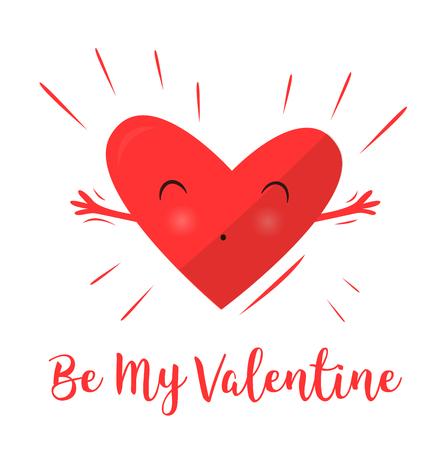Harten knuffelen en gelukkig. Liefdesverklaring. Fijne Valentijnsdag. Mooi hart. Vector illustratie.