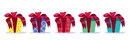 Set van Present helder en kleurrijk, met een boog en een geometrisch patroon. Felicitatie aan de vakantie. Vector illustratie.