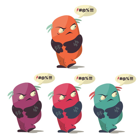 obscene: Set of Angry swearing monsters in a flat style. Colorful angry characters. Illustration