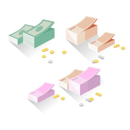 money exchange: Vector illustration money exchange in flat style. Set of logo momey exchange. Different money and coins