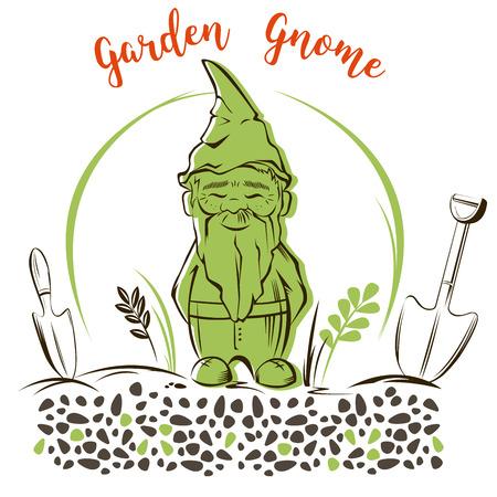 Vector Set of garden gnome with tools. For garden services logo