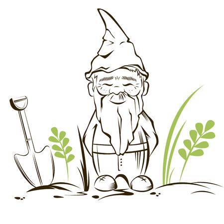 Vector cute garden gnome with background.For garden services logo