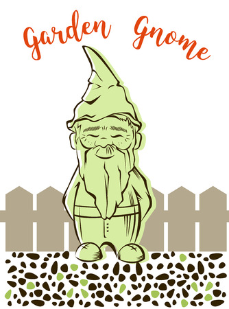 sickle: Vector cute garden gnome with background.For garden services logo Illustration