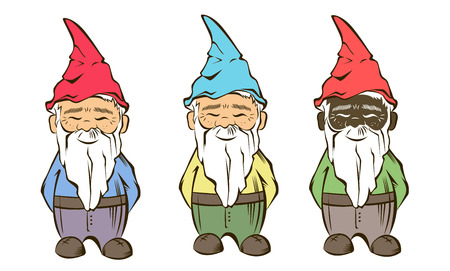 Set of colourful Vector garden gnome.For garden services logo