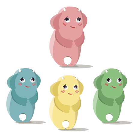 Set of happy and shy monsters in a flat style. Colorful happy set characters. Illustration