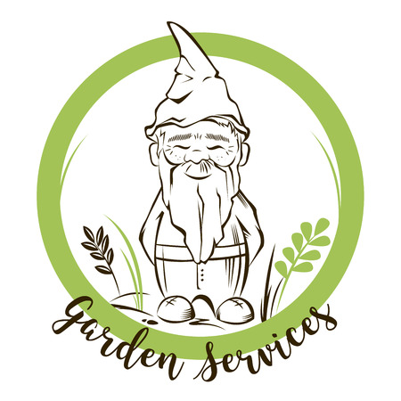 Vector cute garden gnome with background.For garden services logo Illustration