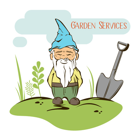 Vector Set of garden gnome with tools. For garden services logo