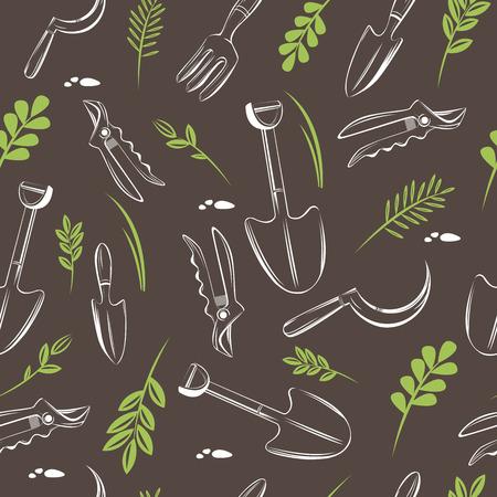 Naadloos patroon van tuingereedschap. Tuin achtergrond. Stock Illustratie