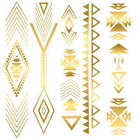 Flash tatto goud geometrische versiering. Zomerstijl. Azteekse flash-tattoo. Tribale gouden abstracte geometrische elementen. Vector illustratie Stock Illustratie