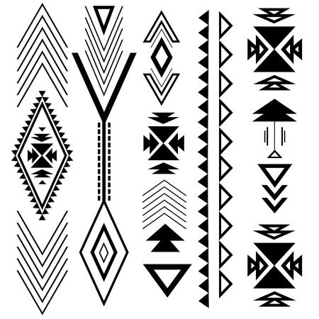 Etnisch boho zwart ornament met geometrische ontwerpelementen en pijlen.