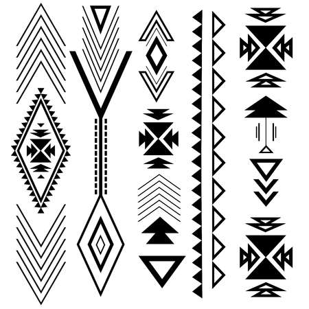 Ethnic boho black ornament with geometric design elements and arrows.