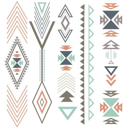 Etnische boho zomer ornament met geometrische ontwerpelementen en pijlen. In kleur plat ontwerp.