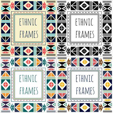 Set van vier etnische boho frame met geometrische ontwerpelementen en pijlen. ? olorful platte ontwerp
