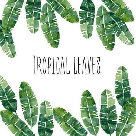 Hand getekende aquarel zomer Tropische bladeren frame, kan worden gebruikt voor of post csrd