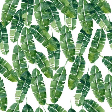 Hand getekende aquarel zomer Tropische bladeren, naadloos patroon Stockfoto