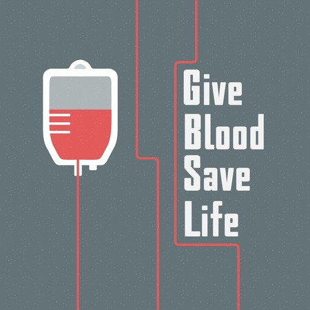Hand getrokken moderne poster of banner voor bloeddonor Stock Illustratie