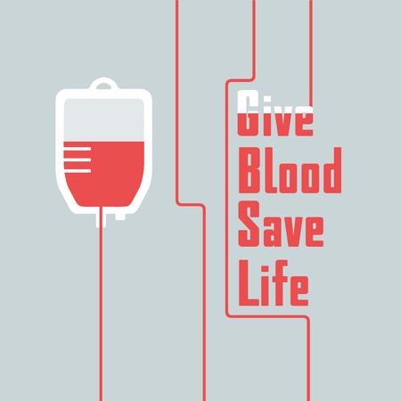 Hand getekende moderne poster of banner voor bloed donor Stock Illustratie
