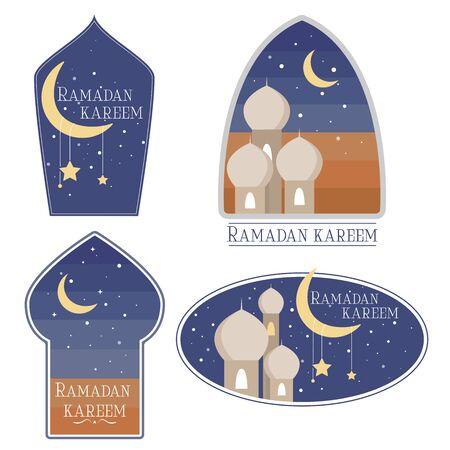 Hand getrokken Set van ramadan briefkaart, logo of stickers