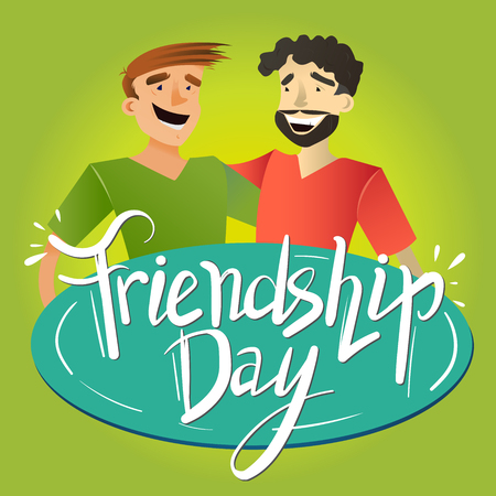 Two happy friends. Friendship Day. Flat design illustration with hand drawn lettering for your design.