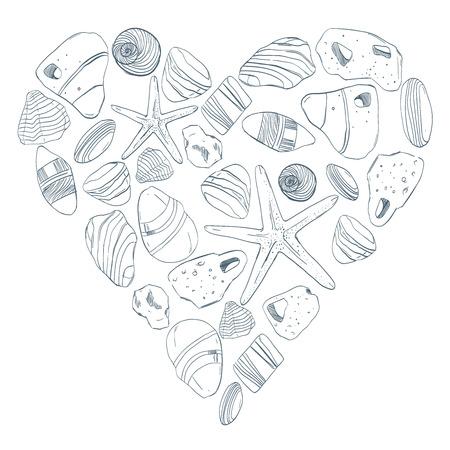Hand getekend. Zee stenen en shell naadloze patroon hart postkaart. Kan worden gebruikt als briefkaart, achtergrond of banner Stock Illustratie