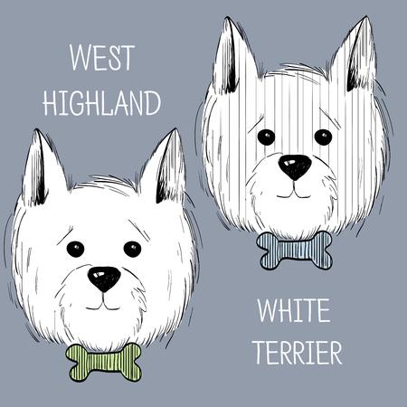 West-White Terrier scetch.Can worden gebruikt als postkaart, achtergrond of banner