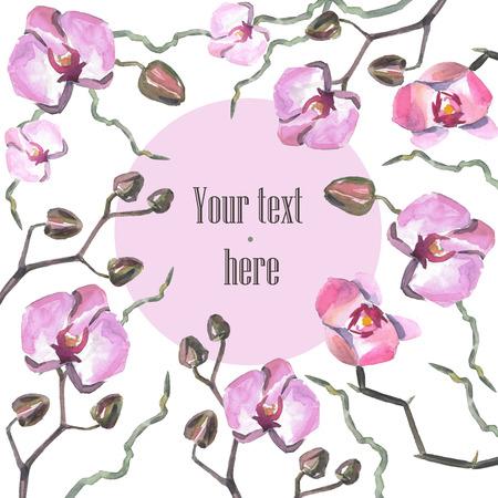 Hand getekende aquarel orhid. Kan gebruikt worden voor uitnodiging tot de bruiloft of achtergrond
