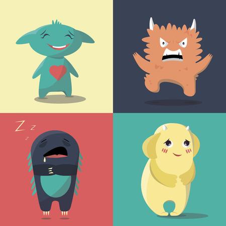 Conjunto de monstruos con un estado de ánimo diferente en un estilo plano. en un estilo plano. coloridos personajes en estilo de dibujos animados. Los monstruos con diferentes emociones.