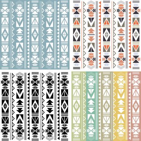 Set van vier etnische boho patroon met geometrische elementen en pijlen. ? Olorful plat ontwerp Stock Illustratie