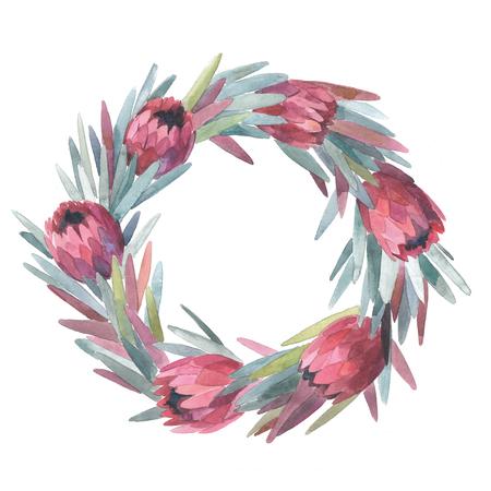 Hand getekende aquarelle protea krans