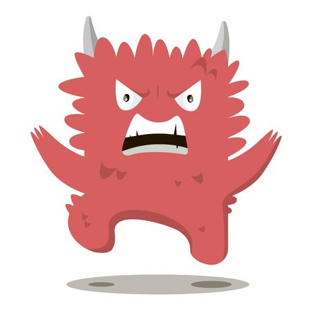 obscene: Angry swearing monsters in a flat style. Colorful angry characters