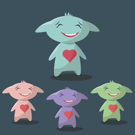 shy: Set of happy and shy monsters in a flat style. Colorful happy set characters. Stock Photo