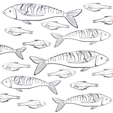 Hand getekend. Vinyage vis patroon kan worden gebruikt voor de vismarkt, restaurant achtergrond of banner Stock Illustratie