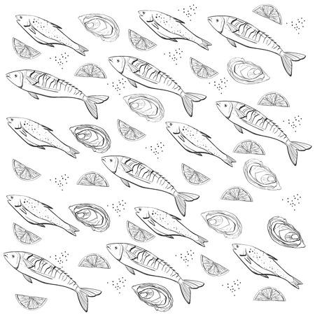 Hand getekend. Vinyage zeevruchten patroon kan worden gebruikt voor de vismarkt, restaurant achtergrond of banner