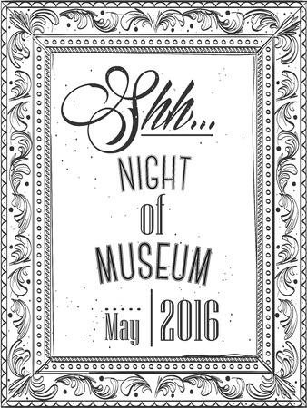 Hand getekend. Moderne Uitnodiging voor de nacht in een museum in het kader voor een foto Stock Illustratie