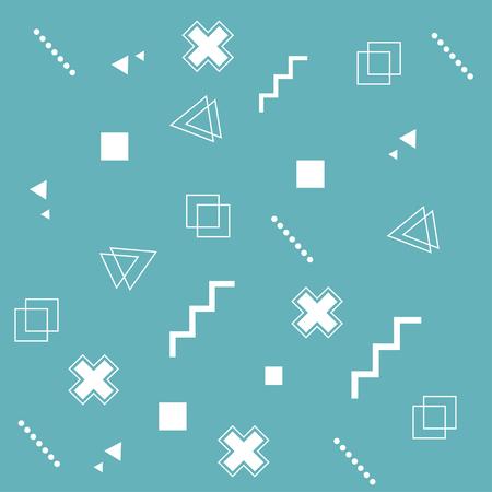 Set van trendy geometrische elementen memphis kaarten. Geometrische achtergrond. Abstracte achtergrond. Kruis, punten, vierkanten. Vector illustratie. Moderne abstracte ontwerpaffiche, dekking, kaartontwerp.