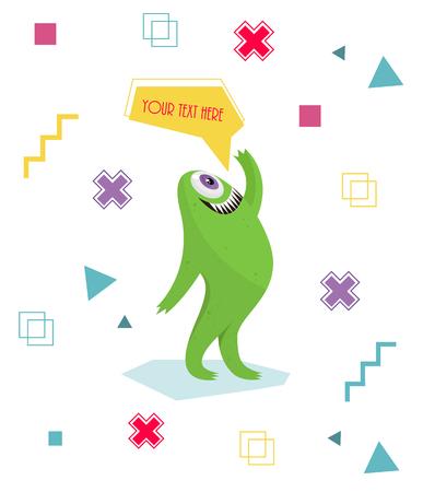 Grappig monster zwaaien van zijn hand. Geometrische kleurrijke achtergrond. Stripfiguur .Dialogue cartoon. Vector illustraties. Vrolijke getande monster. Geometrische achtergrond. Het kruis, vierkant, punt. Stock Illustratie