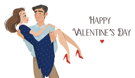 love declaration: Man holds girl in his arms. Lovers. Valentines Day. Cartoon style. Boy and girl. Date. A declaration of love. offer to go get married. romance. feelings, a pair of lovers Illustration