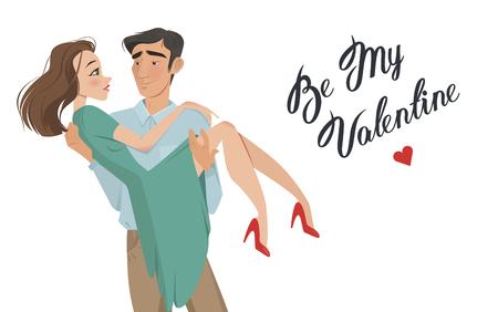 男は、彼の腕の中で女の子を保持しています。愛好家。バレンタインの日。漫画のスタイル。男の子と女の子。日付。愛の宣言。結婚に行くに提供  イラスト・ベクター素材