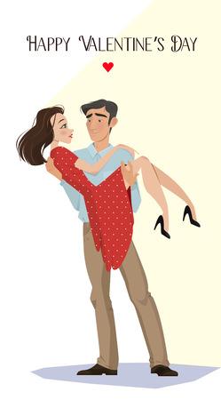 Lovers. Valentijnsdag. Cartoon stijl. Jongen en meisje. Datum. Een liefdesverklaring. aanbieden om te gaan trouwen. romantiek. gevoelens, een paar geliefden