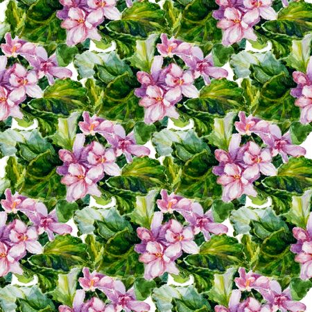 Endless texture of pink flowers, green leaves and pink petals.