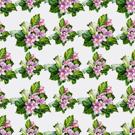 Endless texture of pink flowers, green leaves and pink petals on a light gray background.