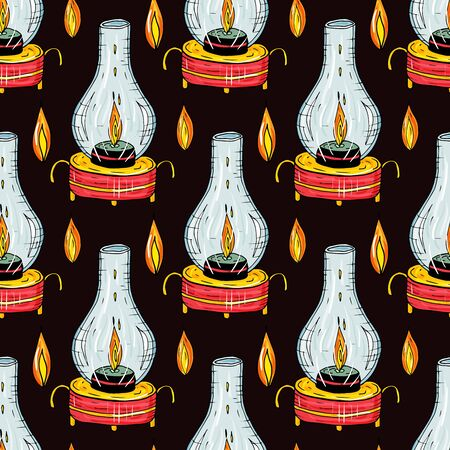 Seamless pattern with burning candles in lamps on a black background. Endless texture for design.